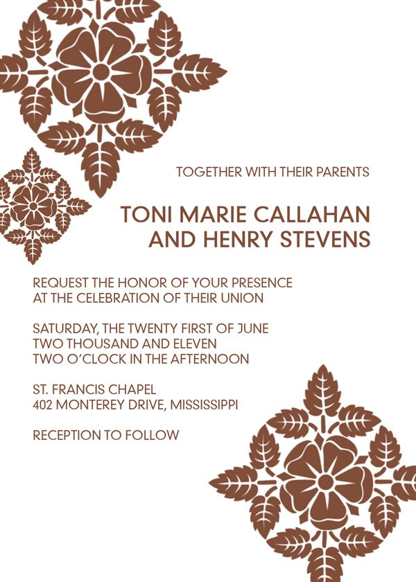 Vintage Brown Free Printable Wedding Invitation