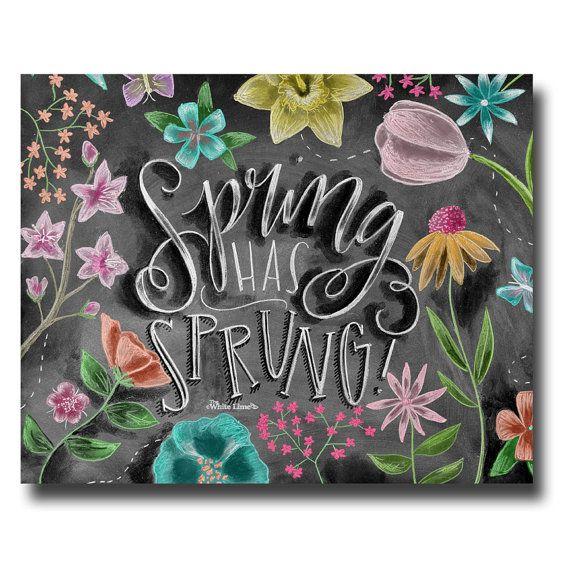 Spring Art Spring Decor Spring Print Chalkboard door TheWhiteLime