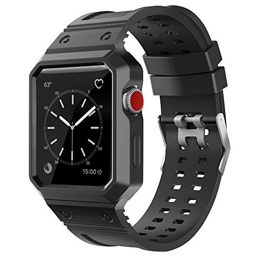 CTYBB Apple Watch Band 42mm with Case Breathable iWatch Bands with Shock-proof Protective Case for Apple Watch Nike Series 3 Series 2 Series 1 Sport Edition - Black