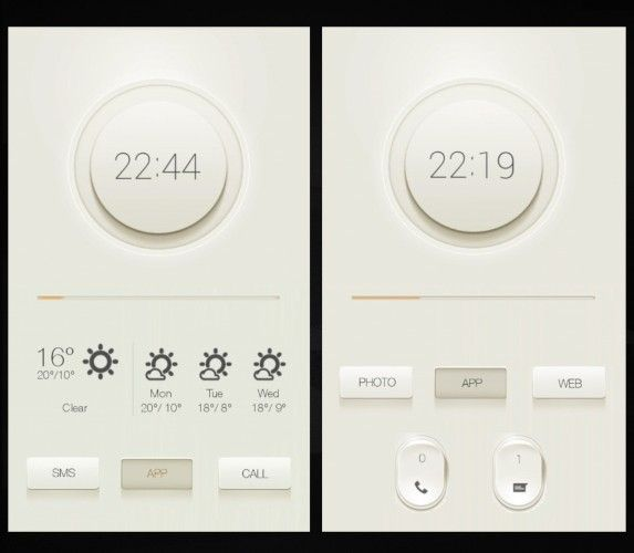 Thermostat app - dial interface with flat icons to show weather forecasts, realpixel buttons