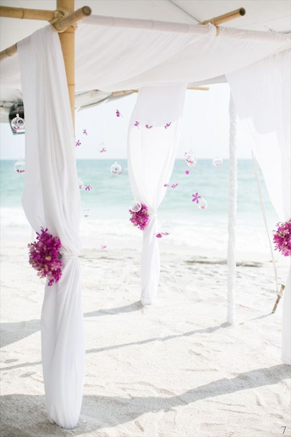Beach wedding arch four post chiffon draping and for Arches decoration