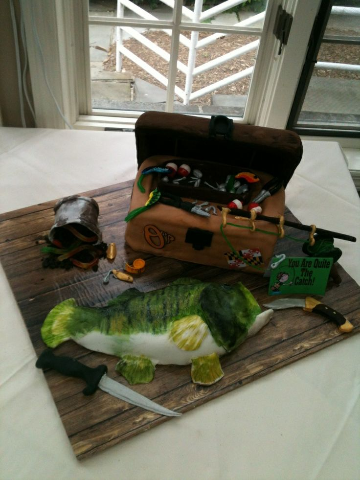 Grooms Cake Bass Fish And Tackle Box Cake Ideas Pinterest