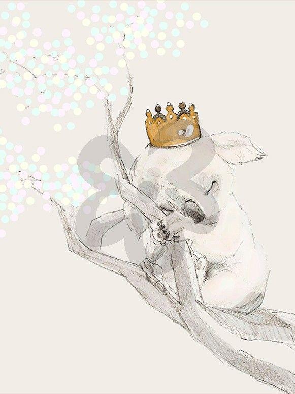 Sleeping Koala Princess, Animals Art Prints | Oopsy Daisy