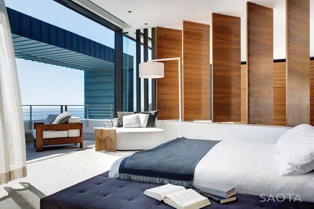 Slaapkamer met een nautisch thema terugkerend in het interieur #slaapkamer #design #blauw