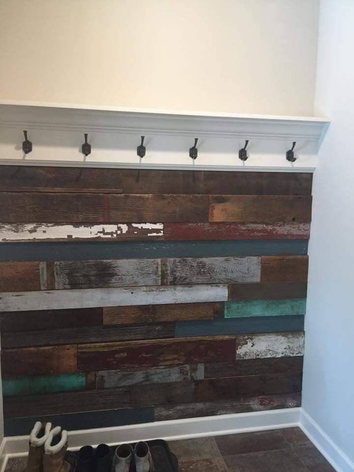 Barn wood accent wall! Your entryway is the perfect place for an barn wood accent wall coat rack! Shop for your DIY project or hire us to install it @ http://www.facebook.com/rusticrevivalbarnwood