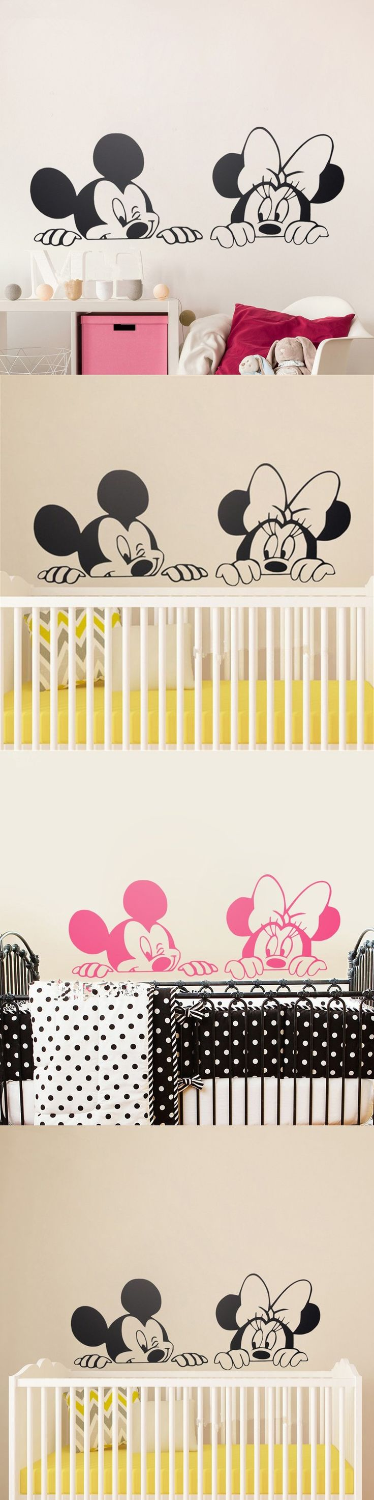 best 25 nursery wall stickers ideas on pinterest nursery cartoon mickey minnie mouse cute animal vinyl wall stickers mural wallpaper baby room decor nursery wall decal home decor