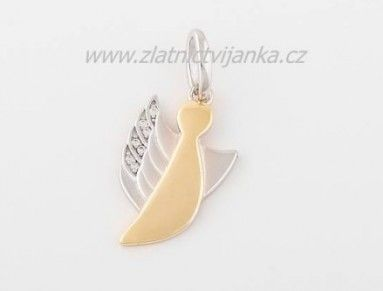 Kombinovaný andílek žluto - bílý se zirkony stříbro 925/1000 2,1g  výška cca 2cm bez ouška   Cena je bez řetízku.  Šperk zasíláme kvalitně zabalený.  Další přírůstky do naší rodiny andílků :-) Každý člověk by měl mít svého andílka strážného u sebe, aby se na něj mohl obrátit kdykoli mu bude smutno nebo úzko. Pořiďte si i vy svého andílka strážného a buďte tak pod jeho neustálou ochranou :-)