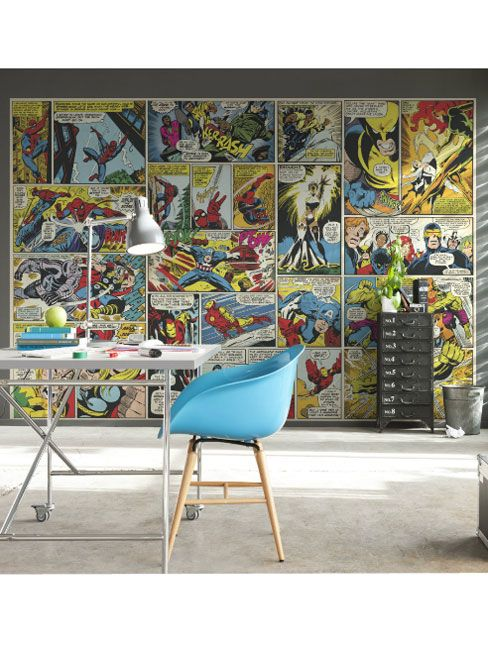 Marvel Comic Heroes Photo Wall Mural Marvel Transform your room with this maxi wall sticker muralManufactured by KomarMural