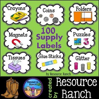 Supply Labels - 100 classroom supply labels Supply labels make it easier to keep your materials and classroom organized. They are also a great help for substitute teachers. This set includes: student supply labels, teacher supply labels, math manipulative labels, science supply labels, and craft supply labels.**There are two files within the zip folder; one with the words beginning with capitals and one with lowercase.