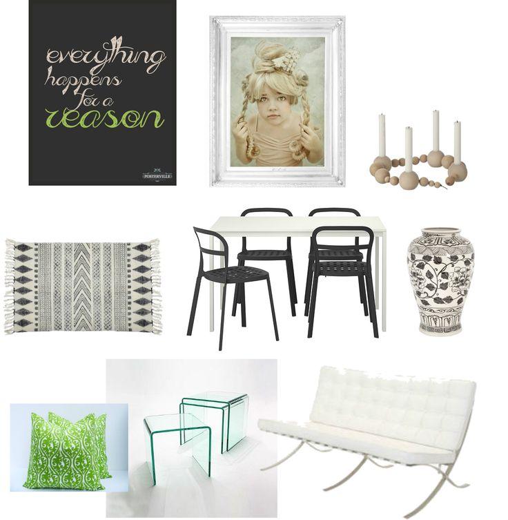 typografia,obraz,fotografia dziewczynki,drewniany koralikowy świecznik,dywanik czarno-biały,skandynawski dywan,zestaw czarnych krzeseł z białym stołem,czarno-biała waza,skandynawska ceramika,czarno-biała ceramika,zielona poduszka z napisami,zestaw szklanych stolików,szklany stolik kawowy,nowoczesna sofa,biała sofa do salonu