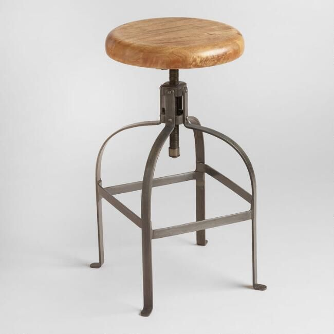 Brilliant Adjustable Round Wood And Metal Stool By World Market In Pabps2019 Chair Design Images Pabps2019Com