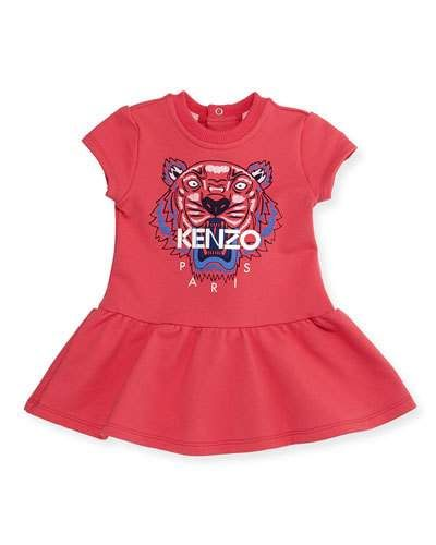 Cap-Sleeve Tiger Fit-and-Flare Sweat Dress, Fuchsia, Size 6M-2