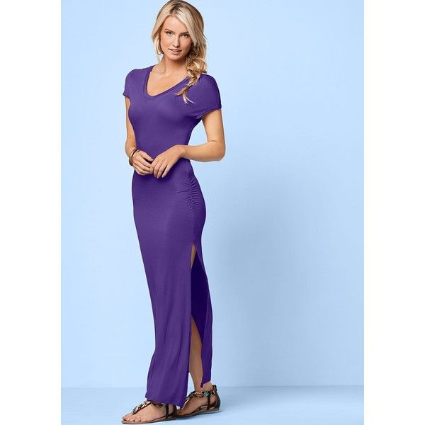 Venus Women's V-Neck Maxi Dress With Slit Dresses ($20) ❤ liked on Polyvore featuring dresses, purple, v-neck maxi dresses, purple ruched dress, v neck dress, purple maxi dress and blue v neck dress