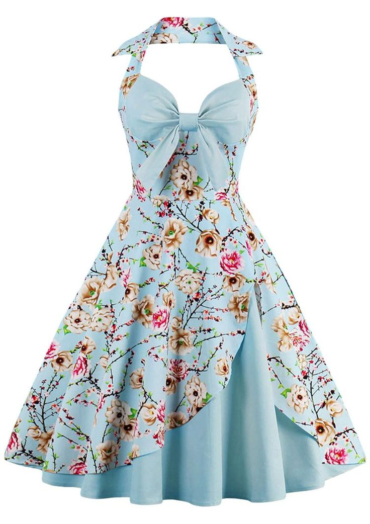 $19.92 Halter Floral Print Pin Up Dress - Cloudy