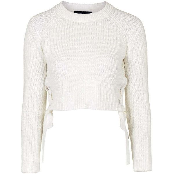 TOPSHOP PETITE Eyelet Tie-Side Jumper ($57) ❤ liked on Polyvore featuring tops, sweaters, crop tops, cream, petite, cropped sweater, white sweater, cream sweater, crop top and petite sweaters