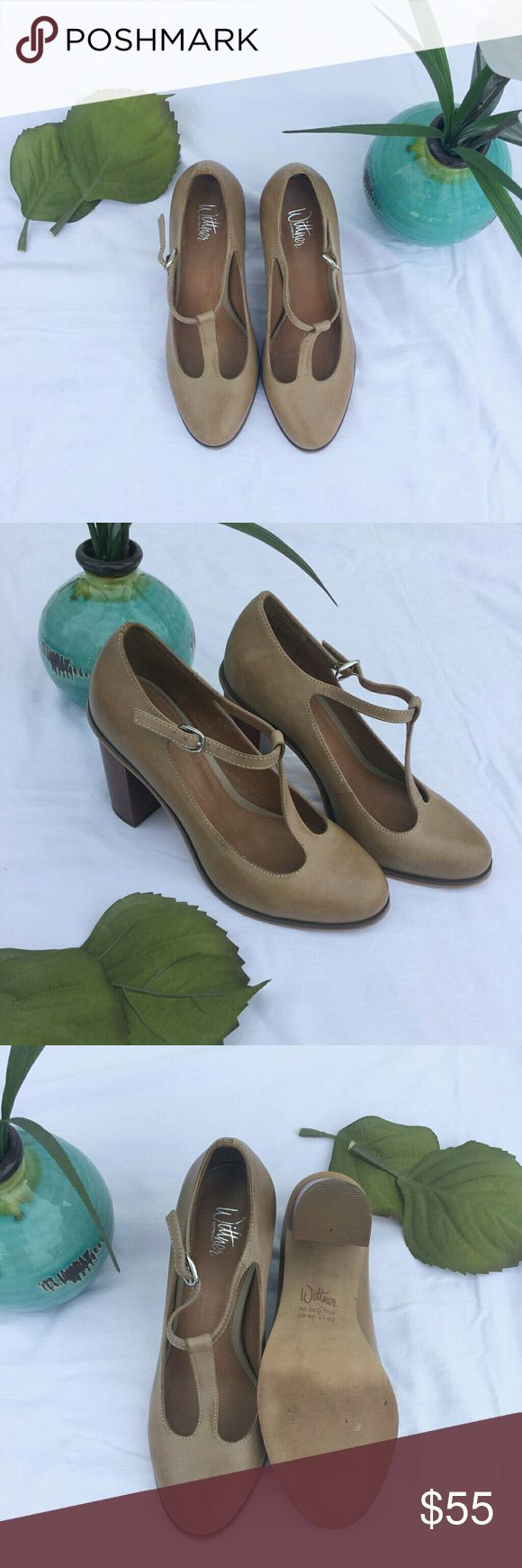 Tan Vintage Style T-Strap Heels Gorgeous vintage style heels in excellent condition with very mild wear on the bottom. Wittner Shoes Heels
