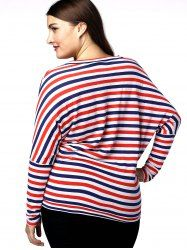 Casual Plus Size Batwing Sleeve Striped Women's T-Shirt - RED AND WHITE AND BLUE 3XL Mobile