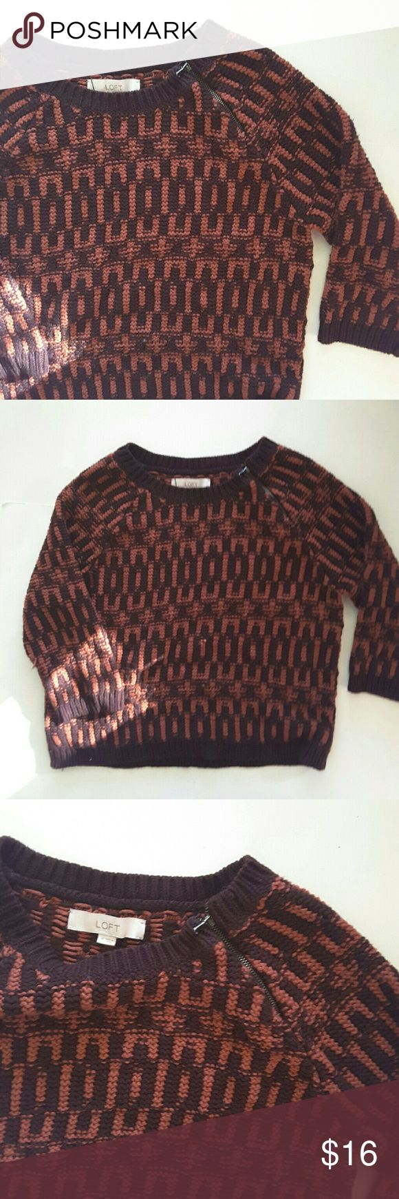 Ann Taylor loft Kinda  oversized knit sweater funcanal zipper detail on shoulder shoulder  are sleeves are longer than middle length but not yet 3/4. 18 inches from armpit to armpit 20 inches from shoulder to bottom of sweater  11.5 inches from armpit to the sleeve LOFT Sweaters