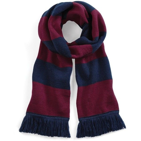 Beechfield Varsity Unisex Winter Scarf (Double Layer Knit) (8.79 CAD) ❤ liked on Polyvore featuring accessories, scarves, navy blue shawl, navy scarves, knit scarves, knit shawl and navy shawl