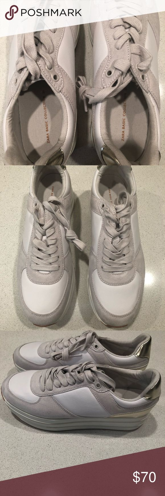 New Zara platform Tennis Shoe Size 8 (39) New never worn Zara Platform Tennis Shoe from the Zara Basic Collection. White and Gray with Gold detail. Zara Shoes Platforms