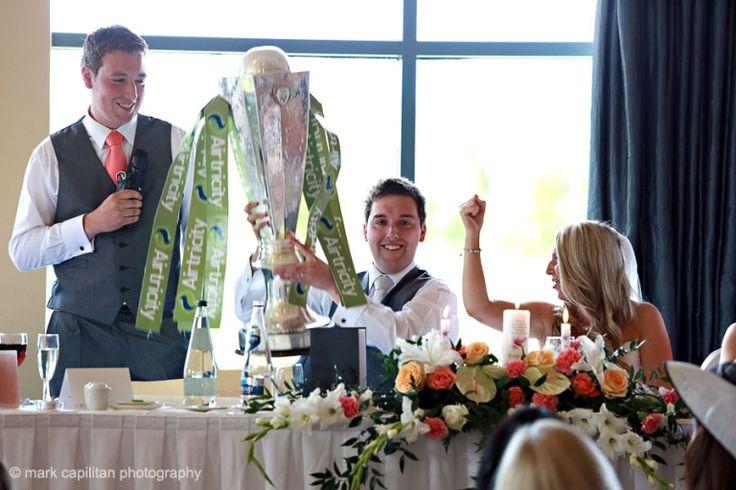 Wedding bestman speech with League of Ireland trophy Sligo Rovers Castle Dargan Ireland wedding photographer Sligo