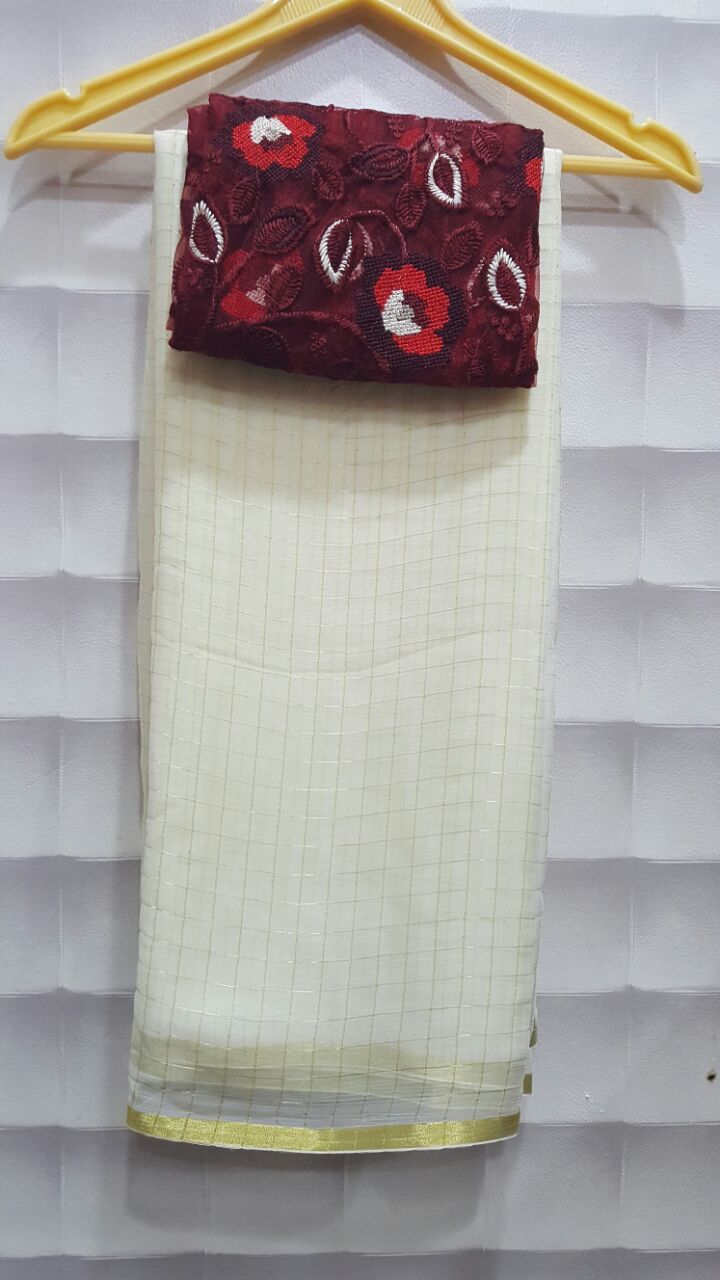 Now a days pure georgette sarees with zari checks paired with designer blouses are very trendy. In...