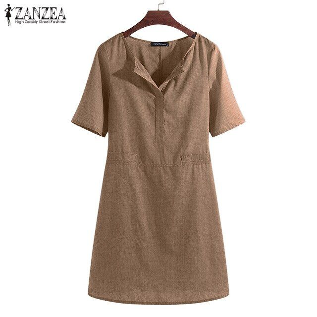 Plus size shirt dress women's summer sundress sarafans vestidos v neck short sleeve robe large dress