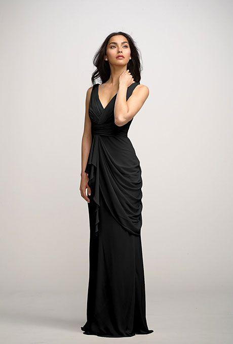 "Brides.com: Black Bridesmaids Dresses We Love. Black Bridesmaid Dress: Watters. Full-length v-neck dress, style ""Voilet,"" Watters  See more long bridesmaid dresses.  Shop this look at Weddington Way."