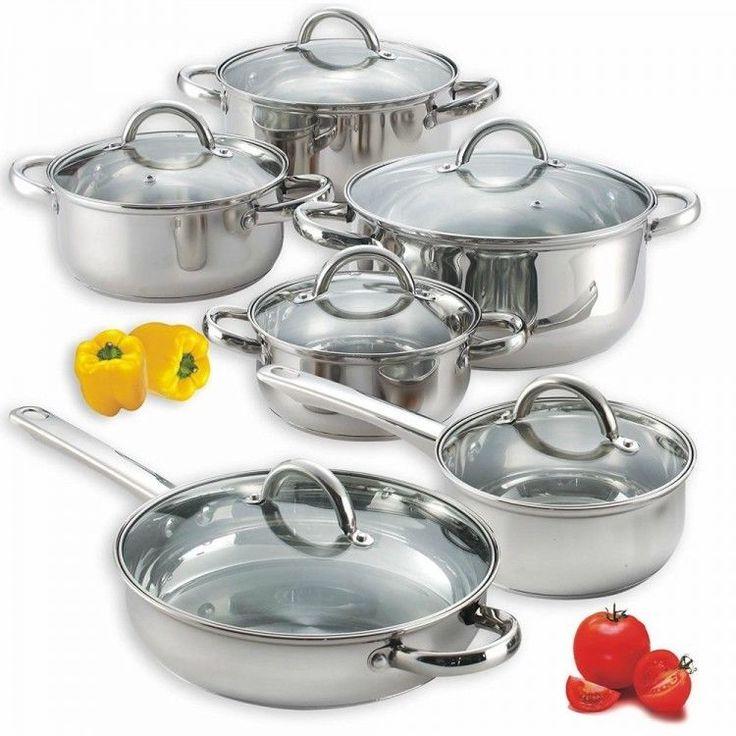 Stainless Steel Kitchen Cookware Set Shef Cooking Pan Casserole Pot Lid 12 Piece #StainlessSteelKitchenCookwareSet