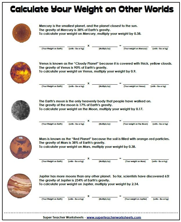 Printables Space Math Worksheet 1000 images about space lesson plan ideas on pinterest rivers math worksheet calculate your weight other planets link http
