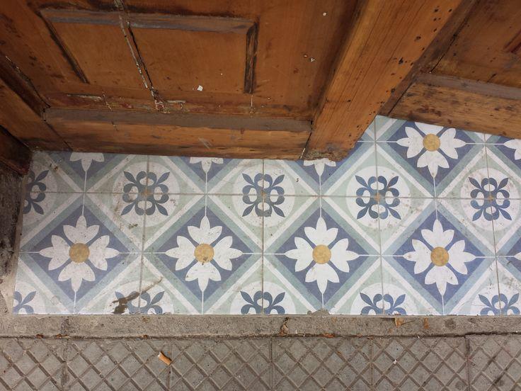 Vintage cement tile at Barrio Italia, Santiago, Chile