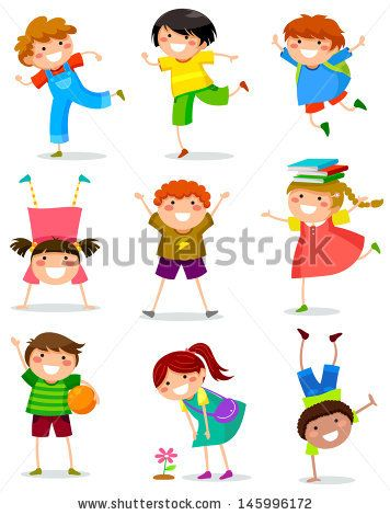 collection of happy children in different positions - stock vector