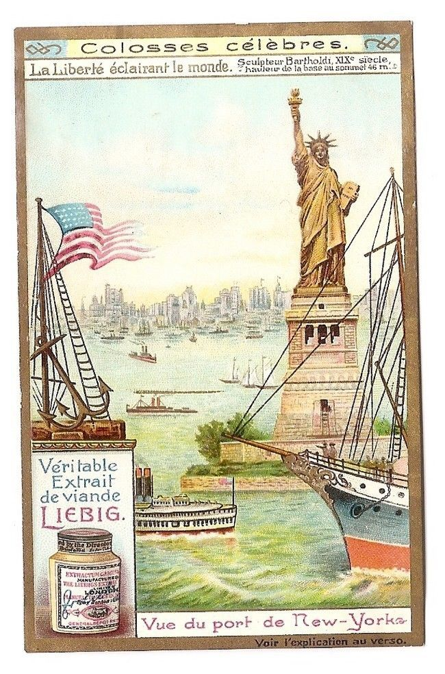 Statue de La Liberté -  Port New York  USA - Chromo Liebig - Trade Card