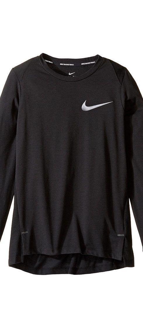 9e858ba55a3c Nike Kids Dry Elite Long Sleeve Basketball Top (Little Kids Big Kids)  (Black) Boy s Clothing - Nike Kids