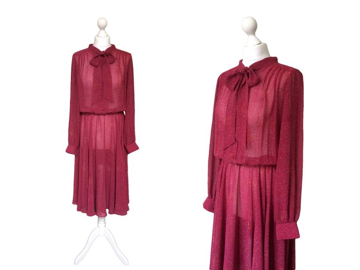 Pussy Bow Dress - 1970's Vintage Dress - 70's Dress - Plum Red Dress In Semi Sheer Chiffon by hurdyburdy on Etsy