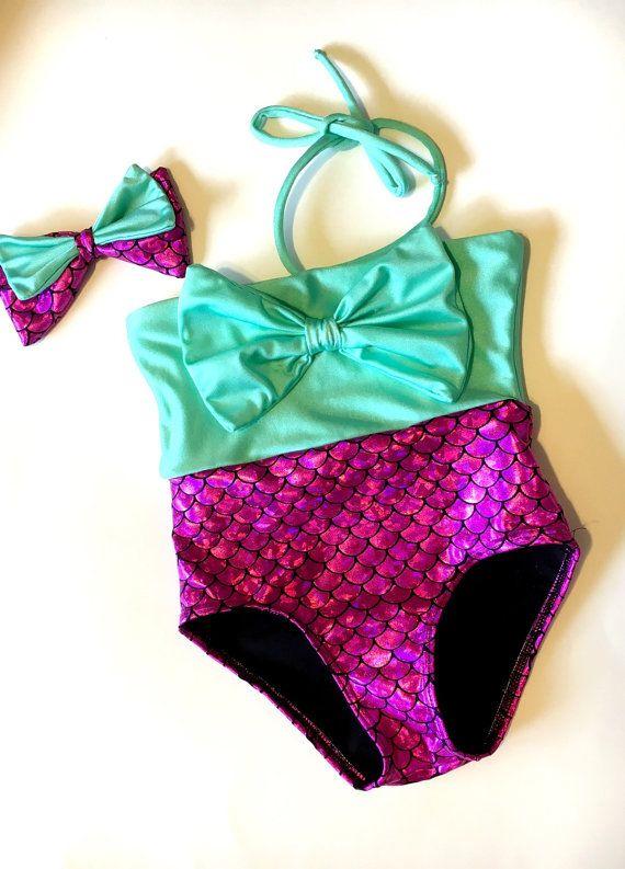 Bikini sirena perlita rosa y teal bikini de sirena por MTBGBOUTIQUE