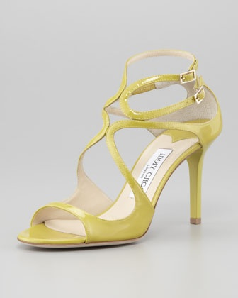 Jimmy Choo Ivette Patent Strappy Sandal, Citrine - Neiman Marcus  So cute for Spring!