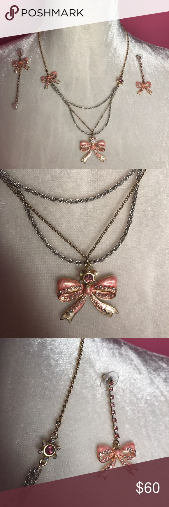 Betsey Johnson Matching Necklace and Earring Set Betsey Johnson Matching Necklace and Earring Set, gold and pink, two stones missing from one of the earrings Betsey Johnson Jewelry