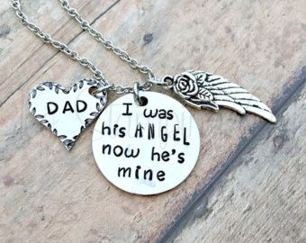 Angel Dad | Memorial Jewelry | Memorial Keepsake | Loss Of Dad | Loss Of Father | Angel Wings | Guardian Angel | Memorial Gift | Sympathy Jewelry | Personalized | Rest In Peace | Dad In Heaven | Mothers Day | Too Stamping Cute   Beautiful memorial necklace for the loss of a dad. This piece is customizable!   This necklace includes: • One aluminum 1 inch circle blank that is hand stamped with the quote I was his ANGEL, now hes mine. • One copper heart blank that is stamped with DAD and a leaf…