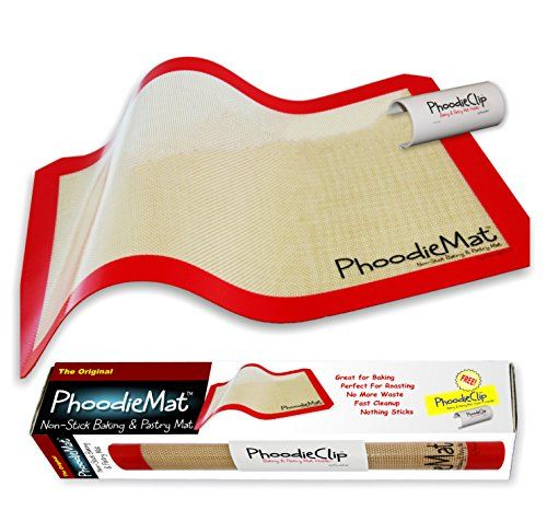 THE ORIGINAL PHOODIEMAT  Premium Silicone Baking MatPastry Mat  Cookie SheetBaking Sheet Liner  Includes patented PhoodieClip for EZ Storage   See Special Offers below   ** To view further for this item, visit the image link.