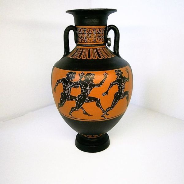 One Panathenaic amphora from the Classic Period 450 B.C.The vases are covered with scenes from everyday life and human figures like gods or goddesses and their companions. Handmade and hand painted…
