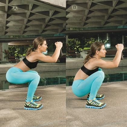 Jillian Michaels' Goblet Squat: Stand with feet slightly wider than shoulders and hold a dumbbell in front of face, fingers clasped. Squat until thighs are parallel to the ground [A]. Lower butt toward the ground [B], then rise up to starting position