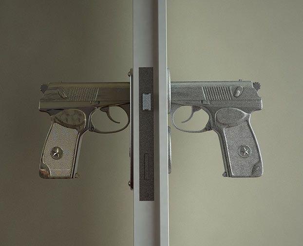 Pistol door knobs, pull the trigger to open the door.  Would make me feel like Tony Montana LOL