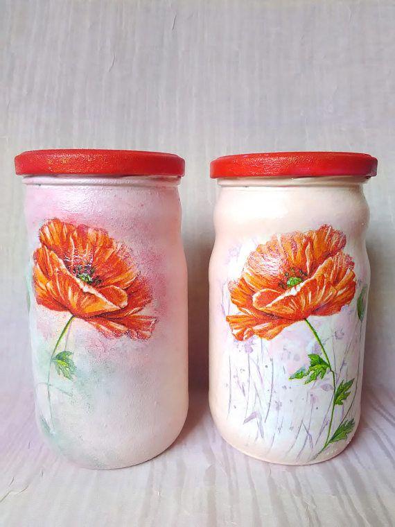 Decoupage Glass Jars Hand painted Glass JarsDecoupage