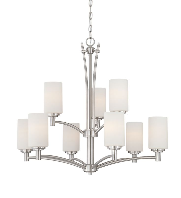 Thomas lighting 190042217 brushed nickel 9 light up lighting chandelier from the pittman collection