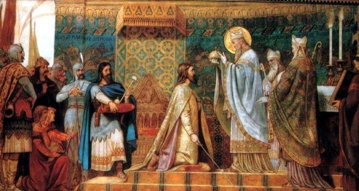 I Andras koronazas.King of Hungary I Andras (Arpad House) 1047-61) Painter: Bertalan Szekely