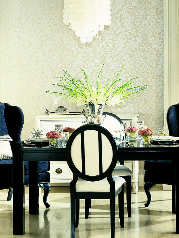 Shimmering Details, Traditional Damask: Modern designs that are warm, subtle, and luxuriously irridescent all in one.