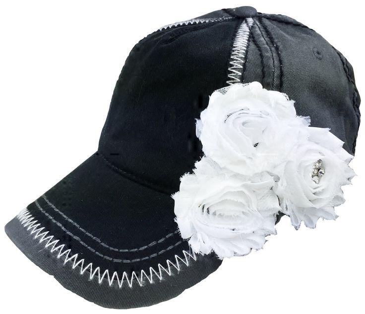 Women's Black Baseball Hat, Ladies Baseball Cap, Embellished Cap, Fashion Cap, Trucker Hat, Bling Baseball Cap, Bling Hat, Fashion Hat, Chic by MBellishedHats on Etsy