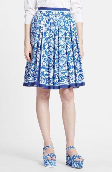 Dolce&Gabbana Tile Print Pleated A-Line Poplin Skirt, Fashion, Blue Majolica, h-a-l-e.com #SummerBlue