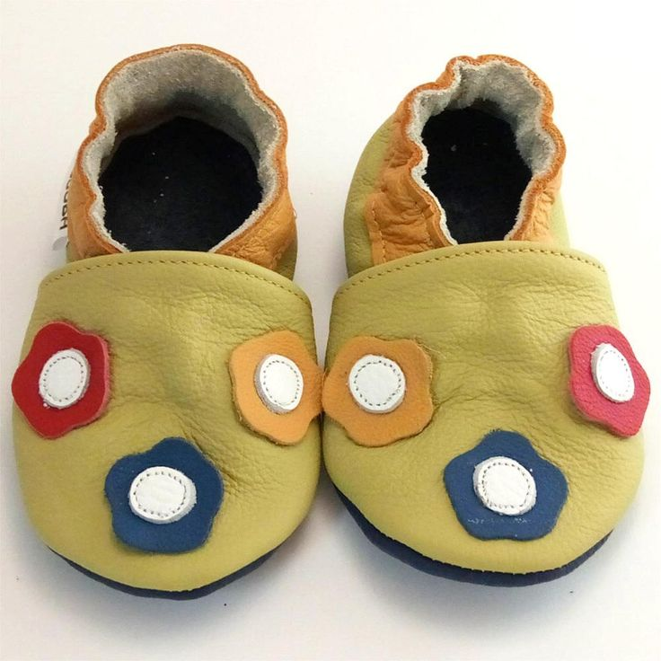 soft sole baby shoes handmade infant  flower olive yellow red blue 12 18 bebe fille chaussons cuir souple pour chaussures ebooba FL-19-O-3 by ebooba on Etsy